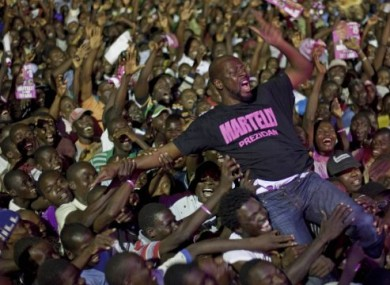 Wyclef Jean performing at a campaign rally for Haitian presidential candidate Michel Martelly on 11 March.