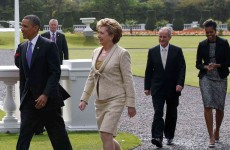 "Obama says the ""sun's coming out"" as he meets with President McAleese at the Áras"