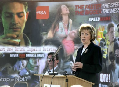 A previous road safety campaign in Ireland being launched by President Mary McAleese in 2009.