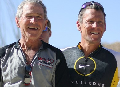 Armstrong (R) with former US president George W Bush at a cycling event in Texas in April.