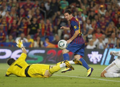 Lionel Messi scores his first goal of the night to put Barcelona 2-1 up.