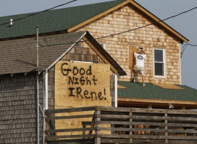 One North Carolina resident leaves a message for Hurricane Irene while preparing for the storm.