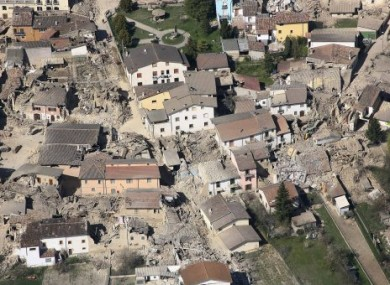 hoto released by the Italian Guardia Forestale (Forestry Police Force) showing an aerial view of the destruction in the city of L'Aquila, central Italy, Monday, April 6, 2009.
