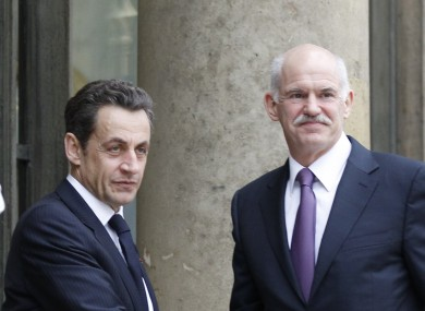 Nicolas Sarkozy and George Papandreou at a meeting in March. The pair w