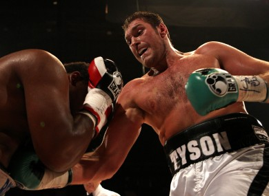 Tyson Fury (right) in action against Dereck Chisora during the British Heavyweight Title fight.