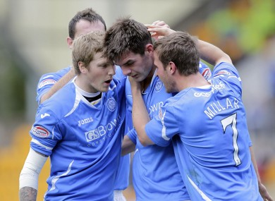 Cavan man Cillian Sheridan celebrates with his team-mates after scoring the opener against Hearts yesterday.