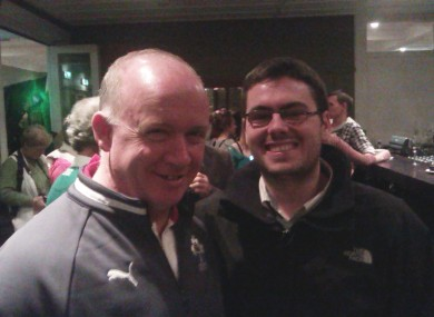 Declan Kidney and Sean - a meeting of rugby minds.