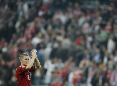 Bastian Schweinsteiger offers a round of applause. How much could he see from down there?