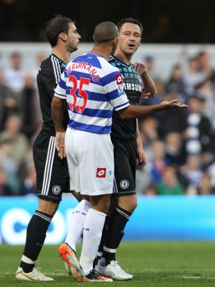 Terry and Ferdinand exchange words during Sunday's Premier League fixture.