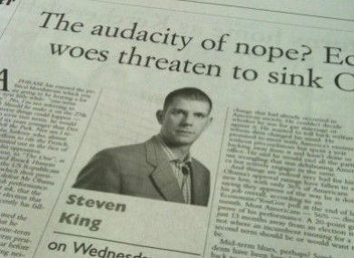 Steven King's column from last Wednesday.