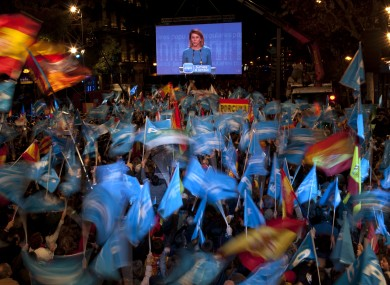 People's Party supporters celebrate in Madrid