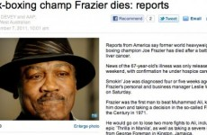 Joe Frazier is still alive even though an Australian paper reported he died