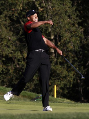 Tiger Woods celebrates winning the Chevron World Challenge at Sherwood Country Club.