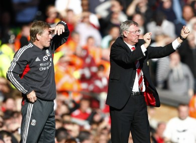 Dalglish and Ferguson stand side-by-side.
