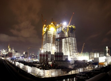 The ECB's new headquarters, the 'Skytower', under construction in Frankfurt.