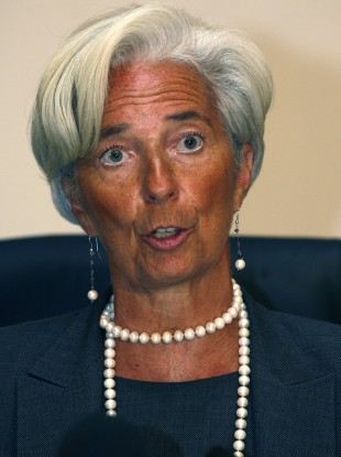 Christine Lagarde speaks during a press conference in Pretoria, South Africa, earlier today.
