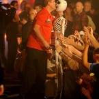 Dean Winstanley kisses a blow-up skeleton as he comes out for his second round match during the BDO World Professional Darts Championships at the Lakeside Complex, Surrey.