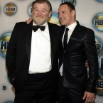 Irish actors Brendan Gleeson and Michael Fassbender commiserate at HBO's awards after party. (AP Photo/Dan Steinberg/PA Images)