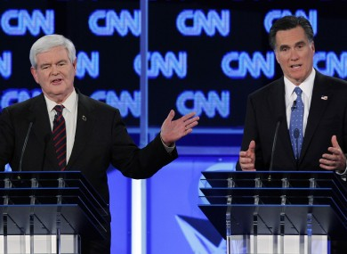 Gingrich (L) and Romney clashed on a number of issues last night