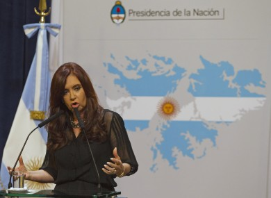 President Cristina Fernandez in front of a map of the Falkland Islands in the colours of the Argentine flag. The Latin American nation maintains the islands are theirs despite being officially under British control.