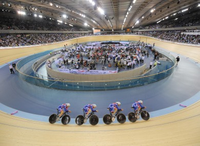 Britain compete in the team pursuit during a qualifying session for the UCI Track Cycling World Cup in London.