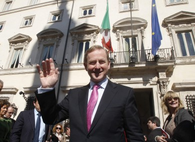 Taoiseach Enda Kenny waves for the Associated Press camera in Rome yesterday.