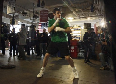 Matthew Macklin shadow boxes during a workout at New York's Trinity Boxing Club.