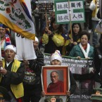 Tibetans living in Taiwan protest to mark the 53rd anniversary of the 1959 unsuccessful revolt against China that sent the Dalai Lama into exile. (AP Photo/Chiang Ying-ying)