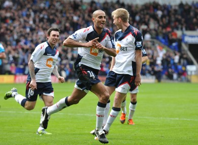 Darren Pratley celebrates one of the goals that could well save Bolton