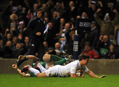 England's Ben Youngs goes over for a try.