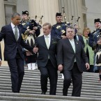 Boehner, Obama, Kenny, and Rep. Peter King, R-N.Y., walk down the steps of the Capitol (AP Photo/Pablo Martinez Monsivais)