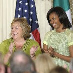 First lady Michelle Obama and Fionnuala Kenny listen as their spouses speak (AP Photo/Susan Walsh)