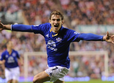 Everton's Nikica Jelavic celebrates.