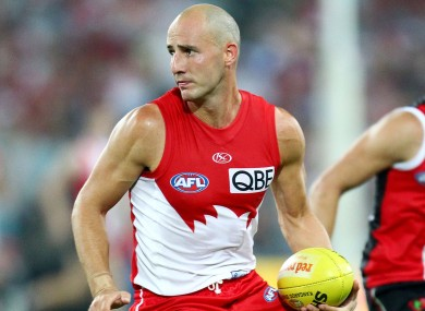 Kennelly in action for the Sydney Swans in 2010.