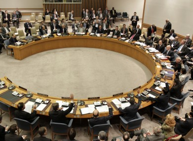 UN Security Council members at talks last month