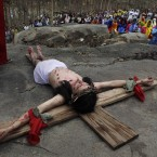 A devotee enacts the crucifixion of Jesus Christ to mark Good Friday in Gauhati, India (AP Photo/Anupam Nath)