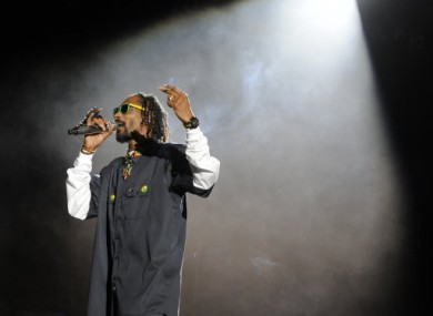 Snoop Dogg onstage at Coachella last night.