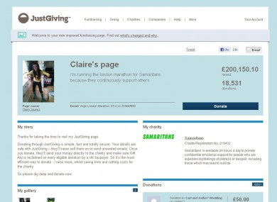 A screen grab for Claire's page.