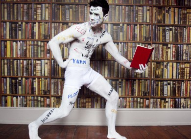 Body painted Ray Lee spreads the word with some of the words from some of the 54 writers books that will feature at this years Dublin Writers Festival