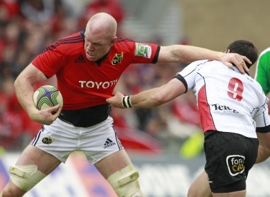 Paul O'Connell is tackled by Ulster's Ruan Pienaar during their European Cup quarterfinal.