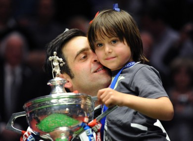 Ronnie O'Sullivan celebrates his victory with his son Ronnie Jr.