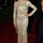 Cameron Diaz sticks to shiny metallics in this Stella McCartney gown.