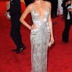 Camilla Belle in a low-cut Ralph Lauren number.
