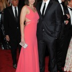 Emily Blunt and John Krasinski. Her dress is by Calvin Klein.