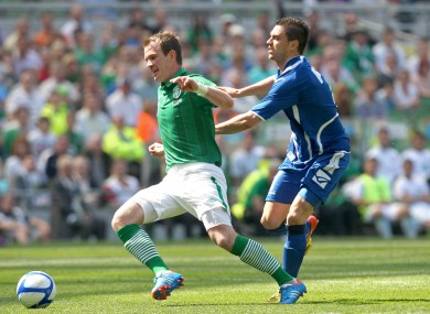 Ireland's Glenn Whelan and Sanel Jahic of Bosnia