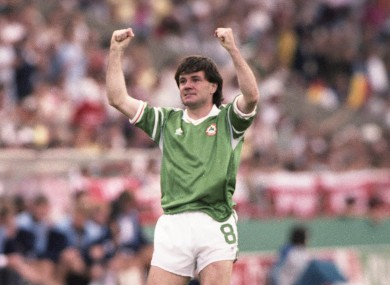 Ray Houghton celebrates his winner against England