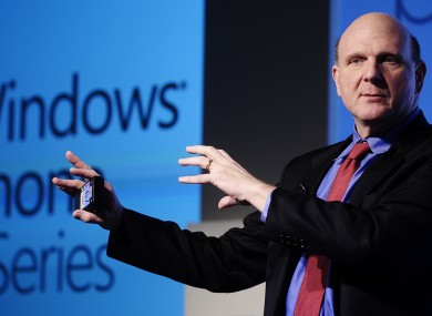 Microsoft CEO Steve Ballmer launches the firm's Windows Phone 7 in 2010