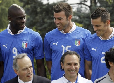 Mario Balotelli, Andrea Barzagli and Christian Maggio with Prandelli front and centre.