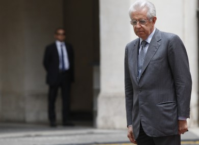 Mario Monti in Rome yesterday