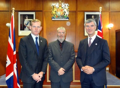 The British Foreign Office Minister Jeremy Browne (l) with Assembly chair Gavin Short (c) and governor Nigel Haywood (r) on the Falkland Islands today.